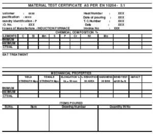 Certificate of Material