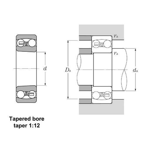 Diagram - Bearings - Ball - Double Row - Self Aligning - Tapered Bore - Light Series