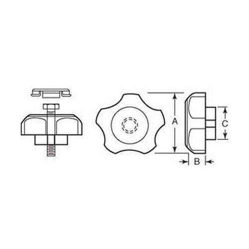 Diagram - Knobs - Five Lobe - Hex Head Bolt - Female