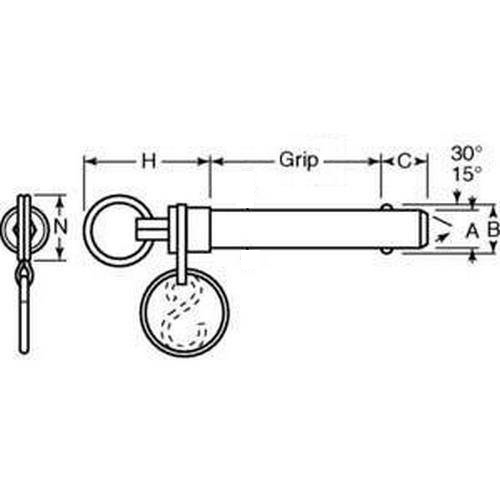 Diagram - Pins - Ball Lock - Double Acting - Ring Handle - Stainless Steel