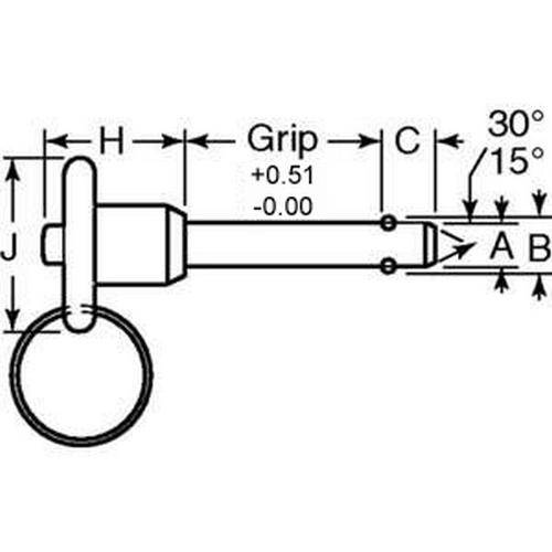 Diagram - Pins - Ball Lock - Button Handle - Commercial