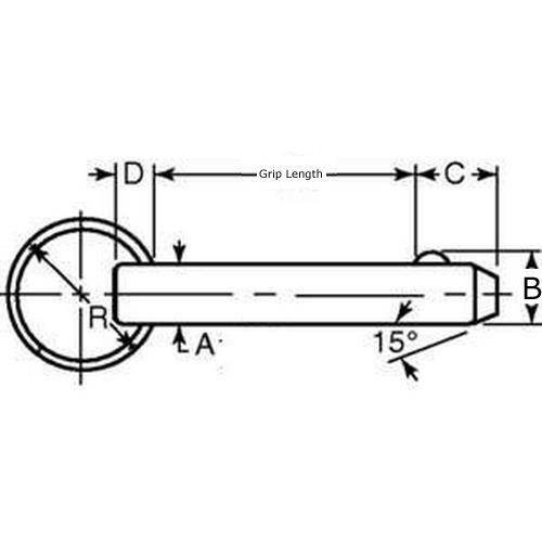Diagram - Pins - Ball Lock - Economy - Stainless Steel