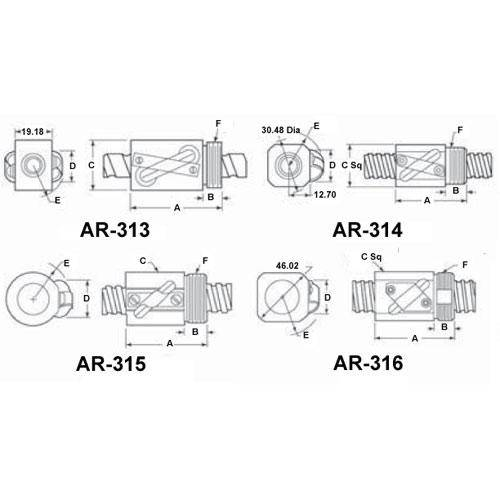 Diagram - Screws - Ball - Nook Series - Nuts - Right Hand Thread - Single Circuit