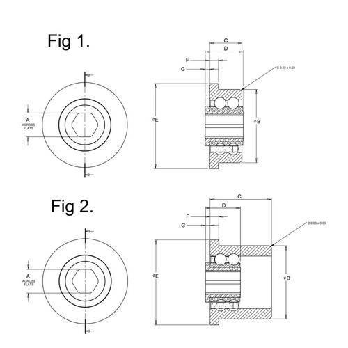 Diagram - Bearings - Conveyor - Hex Bore - Stainless Steel - Double Row
