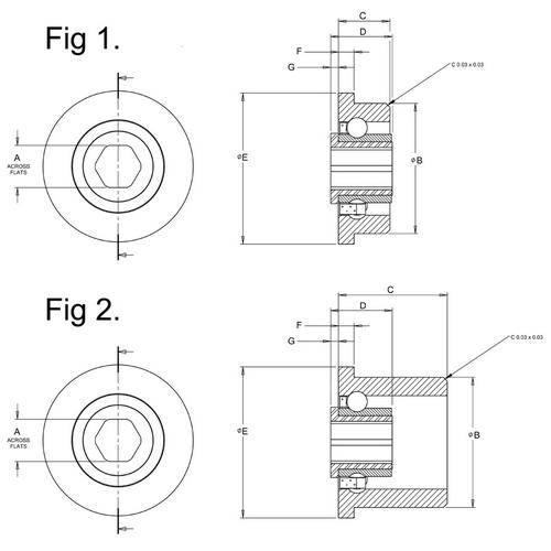 Diagram - Bearings - Conveyor - Hex Bore - Stainless Steel - Single Row
