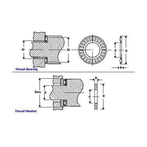 Diagram - Bearings - Thrust - Roller - Cage and Rollers Only