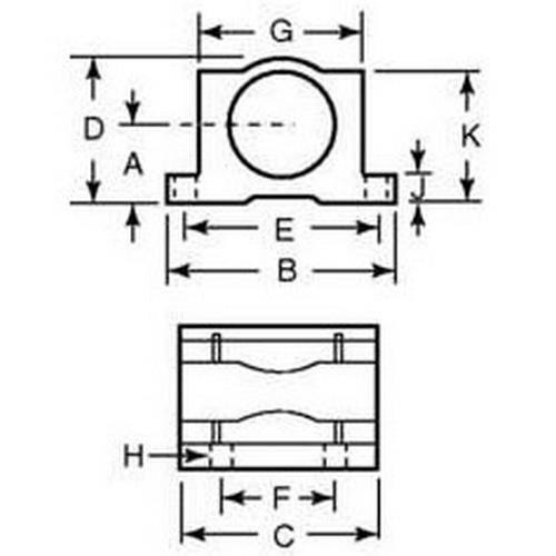 Diagram - Housings - Bearing - Pillow Block - Frelon - Standard - Closed