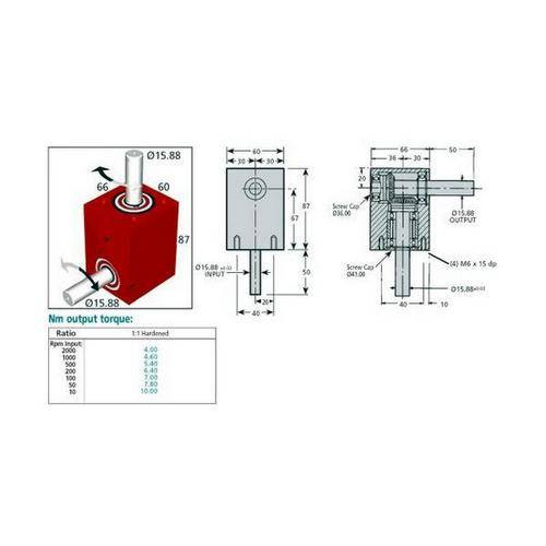 Diagram - Gearboxes - Right Angle - Model RA 0870-0660-0600 - 87.0 x  66.0 x 60.0mm