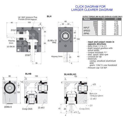 Diagram - Gearboxes - Right Angle - Model RA 1000-1000-0600 -100.0 x 100.0 x 60.0mm