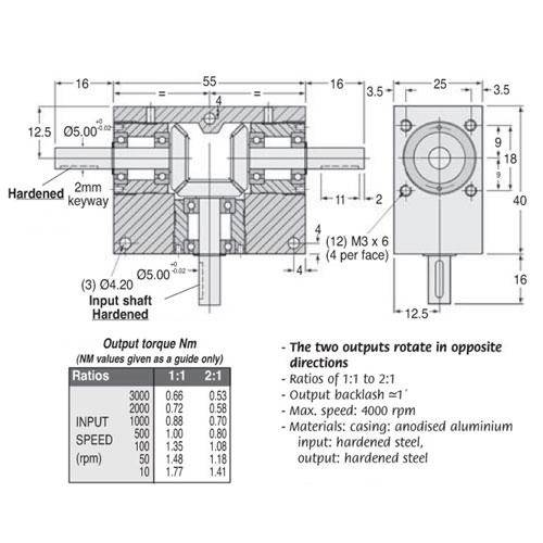 Diagram - Gearboxes - Tee -  55.0 x  40.0 x  25.0mm