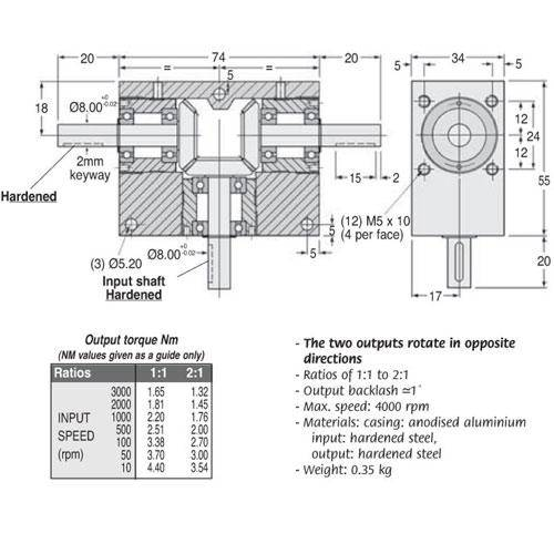 Diagram - Gearboxes - Tee -  74.0 x  55.0 x  34.0mm