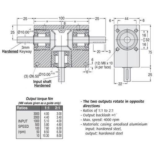 Diagram - Gearboxes - Tee - 100.0 x  75.0 x  44.0mm