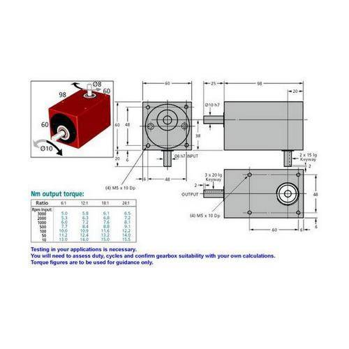 Diagram - Gearboxes - Right Angle - Model RA 0980-0600-0600 - 98.0 x  60.0 x  60.0mm