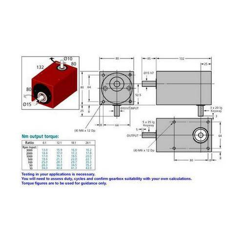 Diagram - Gearboxes - Right Angle - Model RA 1320-0800-0800 -132.0 x  80.0 x  80.0mm