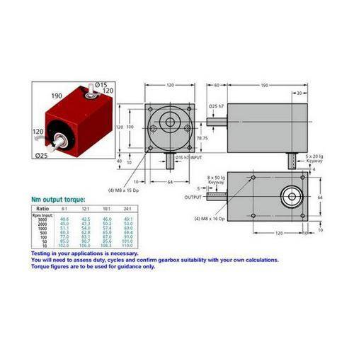 Diagram - Gearboxes - Right Angle - Model RA 1900-1200-1200 -190.0 x 120.0 x 120.0mm
