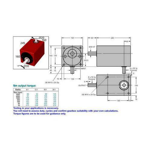 Diagram - Gearboxes - Right Angle - Model RA 2450-1600-1600 -245.0 x 160.0 x 160.0mm