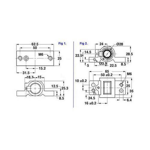 Diagram - Ballscrew - 16mm Nuts - Pillow Block