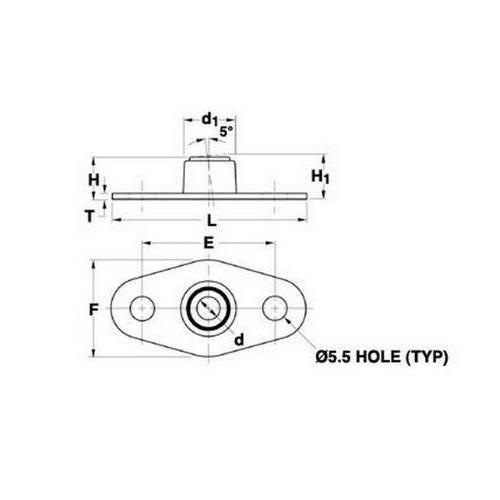 Diagram - Bearings - SDP - PTFE Filled Acetal - Flange Mounted