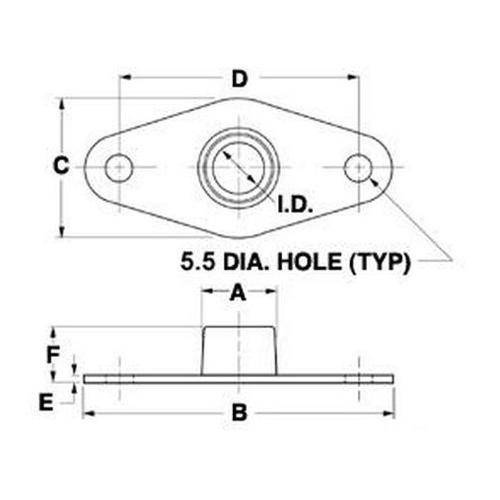 Diagram - Bearings - SDP - Needle Roller - Flange Mounted - Non Aligning
