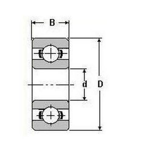 Diagram - Bearings - Ball - 316 Stainless Steel - Single Row - Shielded
