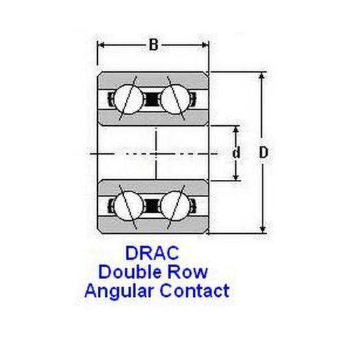 Diagram - Bearings - Ball - Double Row - Angular Contact - Chrome Steel