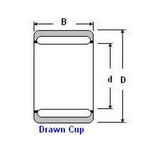 Diagram - Bearings - Needle Roller - Shell Type - Closed End