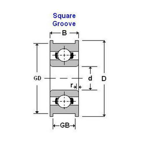 Diagram - Bearings - Square Groove Profile OD