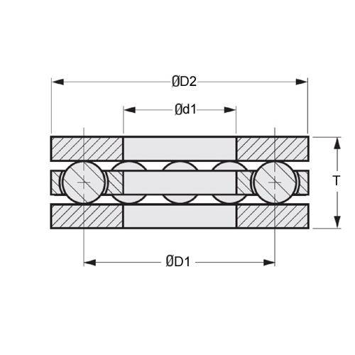 Diagram - Bearings - Thrust - Ball - Flat - Chrome Steel