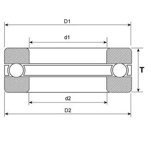 Diagram - Bearings - Thrust - Ball - Grooved - Stainless Steel