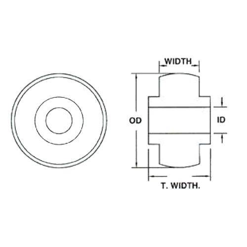 Diagram - Bearings - Acetal - Solid - For Plastic Housings