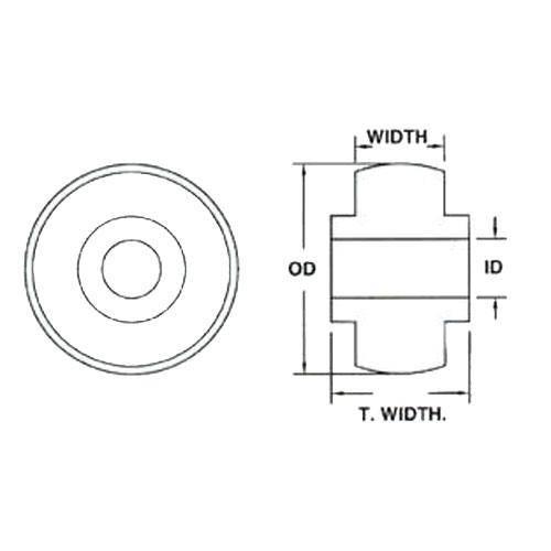 Diagram - Bearings - Acetal - Solid - For Plastic Housings