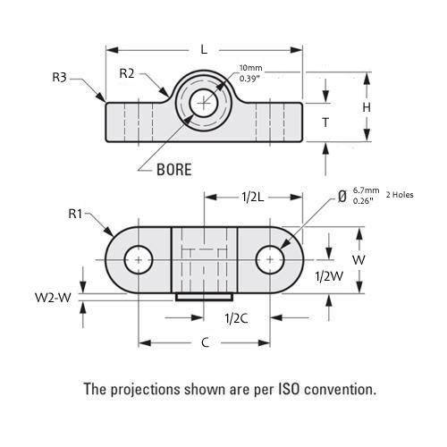 Diagram - Housings - Bearing - Pillow Block - Nylon with Ertalyte Bearing