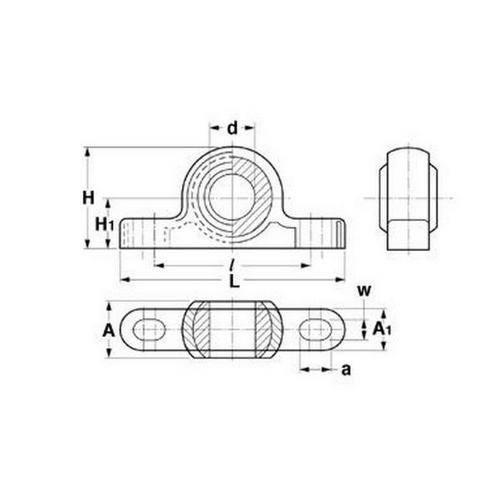 Diagram - Housings - Bearing - Pillow Block - Thermoplastic - W300