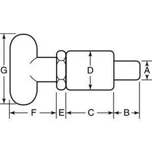Diagram - Pins - Pull - Tee Handle - Stainless Steel