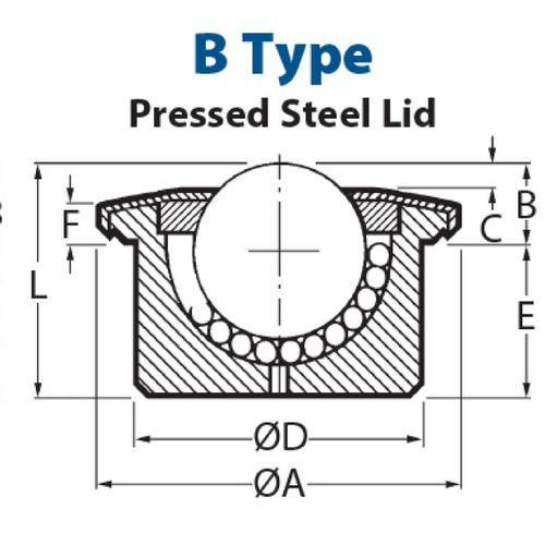 Diagram - Ball Transfer Units - Flange Mount - Heavy Duty - Pressed Steel