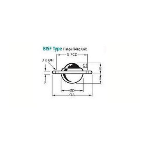 Diagram - Ball Transfer Units - Flange Mount - Standard - Stainless - Slim