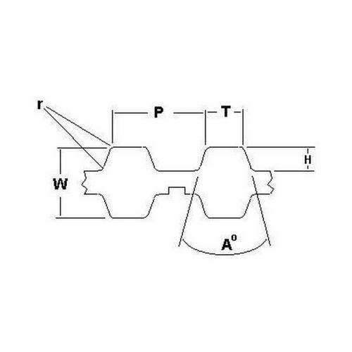 Diagram - Belts - Timing -  5.080mm Pitch - XL Double Sided -  7.9mm Wide