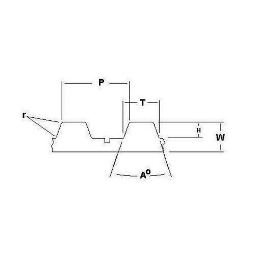 Diagram - Belts - Timing - 10.000mm Pitch - T10 - 25mm Wide