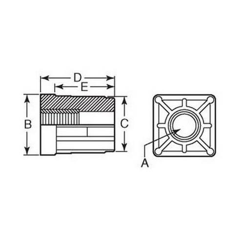 Diagram - Bungs - Square - Threaded