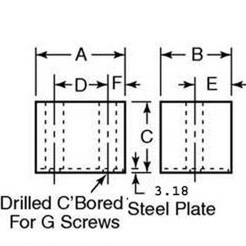Diagram - Bumpers - Square and Rectangle - Steel Plated - Neoprene