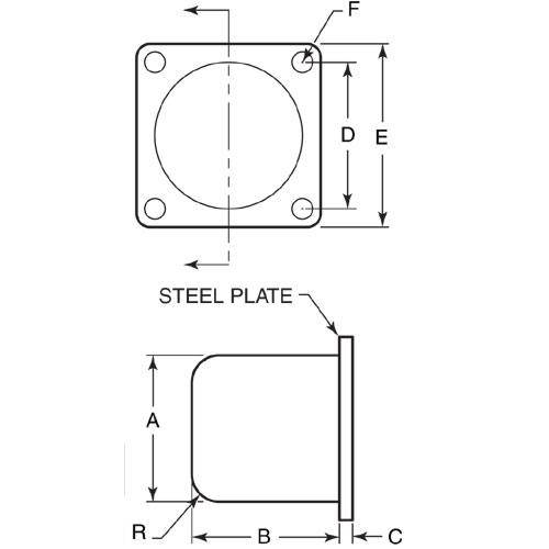 Diagram - Bumpers - Round - Urethane - Bonded to Steel Plate