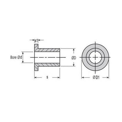 Diagram - Bushes - Bronze - Sintered - Flanged