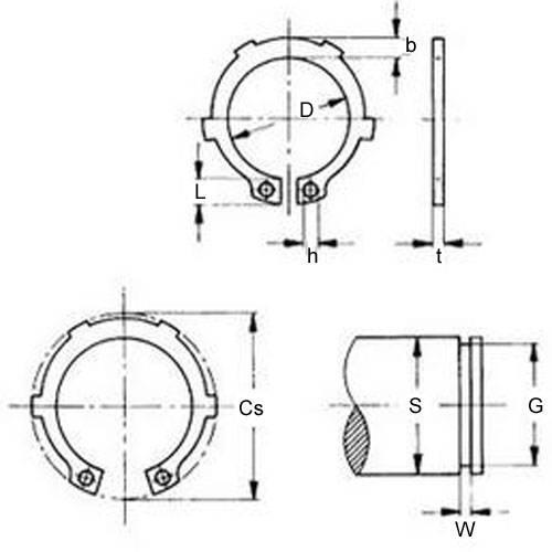 Diagram - Circlips - External - Tabbed