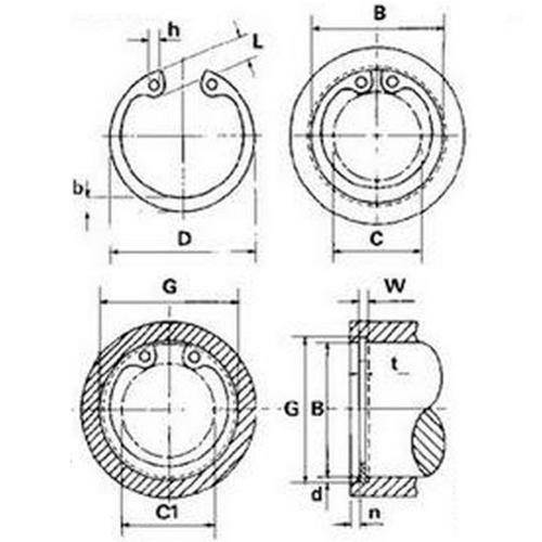 Diagram - Circlips - Internal - Standard - Carbon Steel