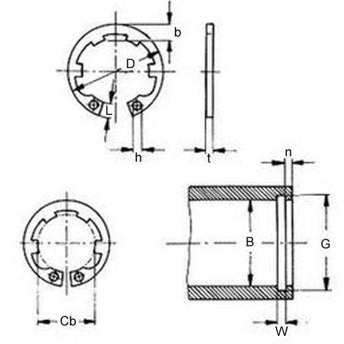 Diagram - Circlips - Internal - Tabbed