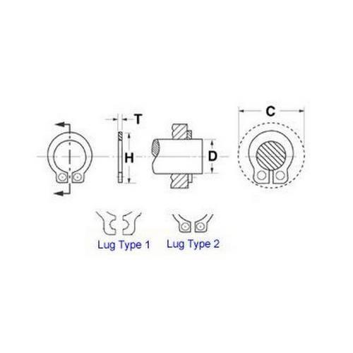 Diagram - Circlips - External - Grooveless