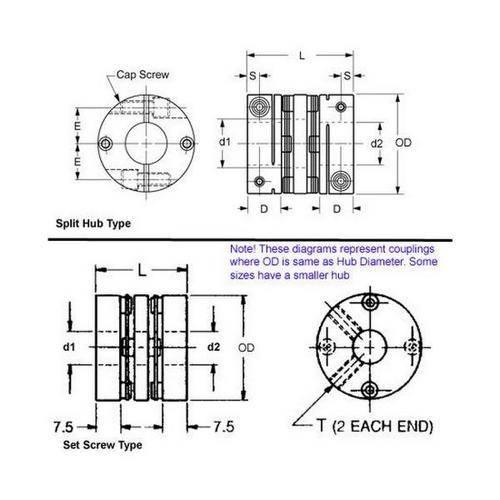 Diagram - Couplings - Double Disk - Aluminium