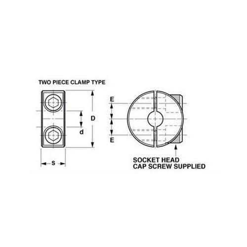Diagram - Collars - Shaft - Clamp Type - Two Piece - Aluminium