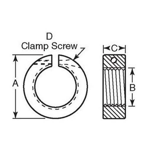 Diagram - Collars - Threaded - Clamp Type - Stainless Steel