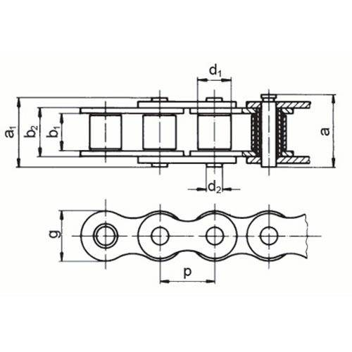Diagram - Chain - Roller - Metal - Simplex
